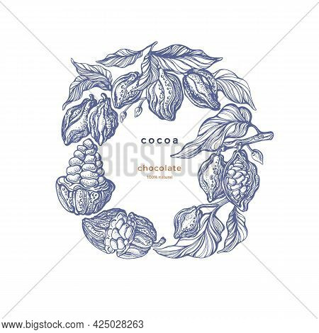 Cacao Product. Organic Chocolate, Aroma Powder, Natural Butter. Vector Hand Draw Bean, Branch, Leave