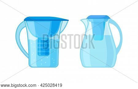 Portative Pitcher With Filter System For Drinking Water Vector Set