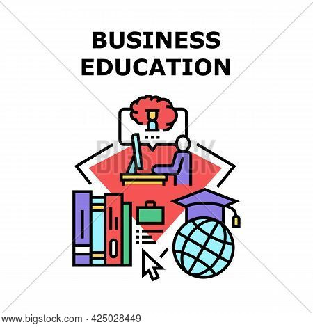Business Education Seminar Vector Icon Concept. Online Business Education Seminar On Laptop And Educ