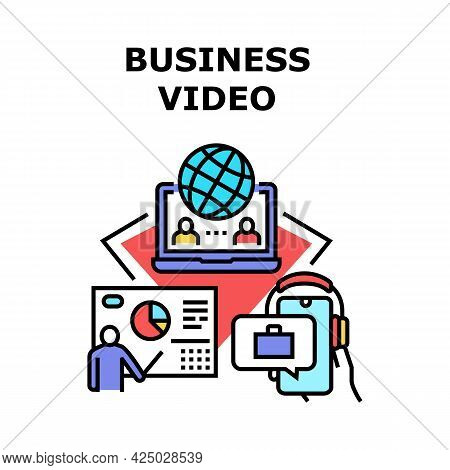 Business Video Vector Icon Concept. Business Video Conference Call Call For Communication And Discus
