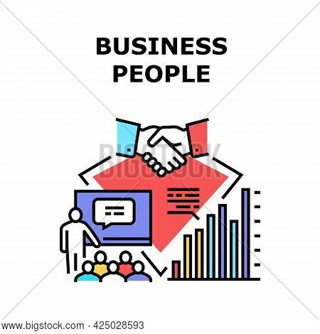 Business People Vector Icon Concept. Business People Educational Training Or Brainstorming In Confer