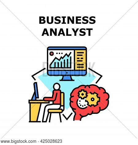 Business Analyst Vector Icon Concept. Business Analyst Monitoring And Analyzing Finance Trade Market