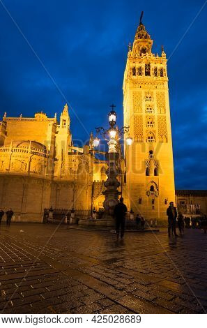 Seville, Spain - 07 April, 2019: The Cathedral Of Saint Mary Of The See, Better Known As Seville Cat