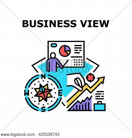 Business View Vector Icon Concept. Business View On Company Perspective And Career Opportunity, Rese