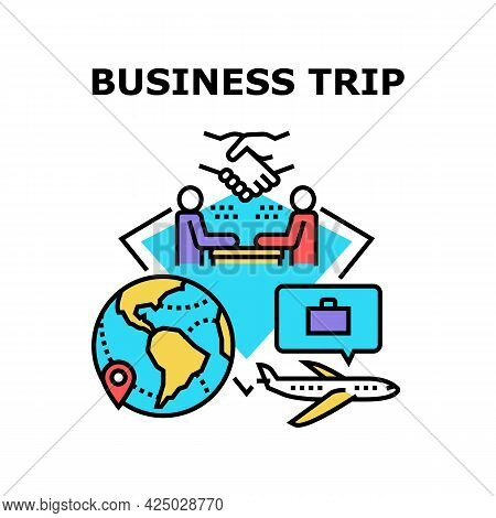 Business Trip Vector Icon Concept. Business Trip For Meeting With Partner Foreign Company, Discussin