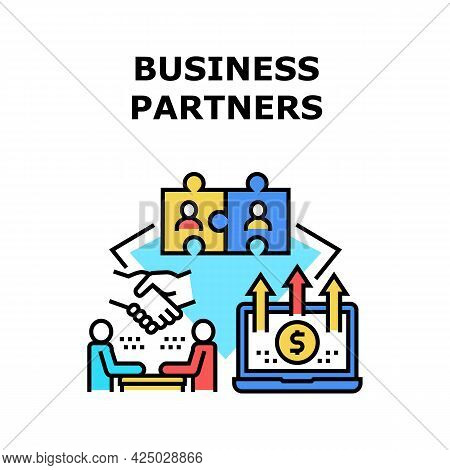 Business Partner Vector Icon Concept. Discussing And Communication Businessman With Business Partner