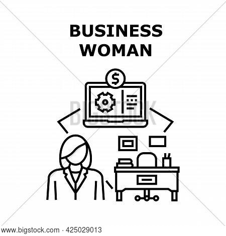 Businesswoman Vector Icon Concept. Businesswoman Working On Laptop At Workspace, Success Job And Car