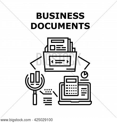 Business Documents Archive Vector Icon Concept. Business Documents Researching And Analyzing Financi