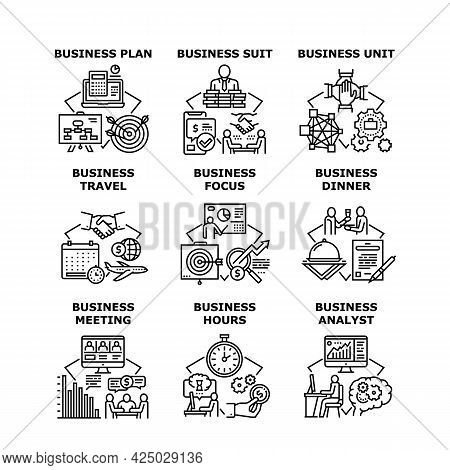 Business Planning Set Icons Vector Illustrations. Business Plan And Unit, Suit And Meeting, Business