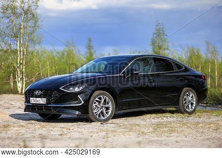Novyy Urengoy, Russia - June 14, 2021: Luxury Saloon Car Hyundai Sonata At The Countryside.