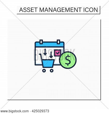 Asset Purchase Date Color Icon.stock Purchase Process. Calendar. Business Concept. Isolated Vector I