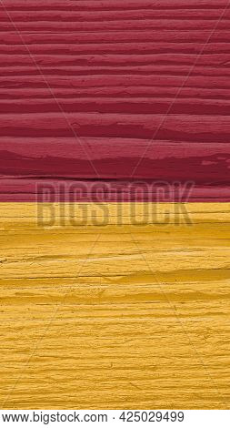 Flag Of The City Of Rome On Dry Wooden Surface, Cracked With Age. It Seems To Flutter In The Wind. V