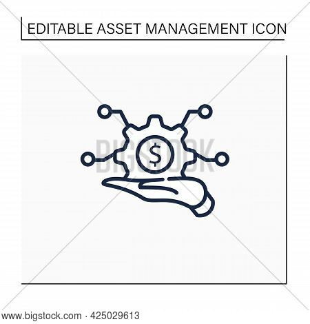 Infrastructure Asset Management Line Icon. Hand Keeps Asset.integrated, Multidisciplinary Strategies