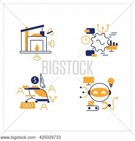Digital Transformation Flat Icons Set. Robot, Free Air Taxi, Software, Industry 1.0. Modern Technolo