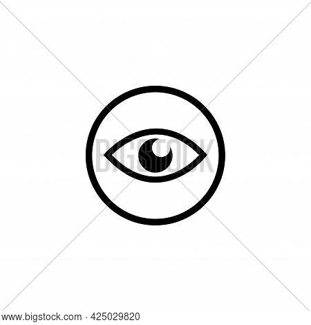 Human Eye, Eyeball Sight, Vision. Flat Vector Icon Illustration. Simple Black Symbol On White Backgr