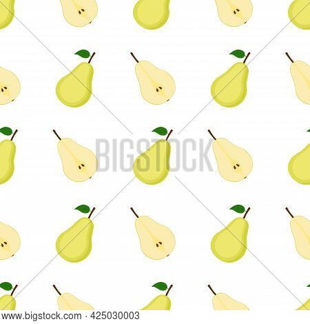 Seamless Pattern With Ripe Pears, Vector Illustration