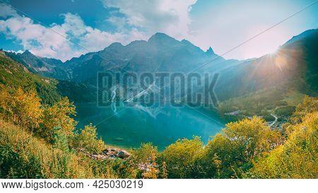 Tatra National Park, Poland. Famous Mountains Lake Morskie Oko Or Sea Eye Lake In Summer Evening. Be