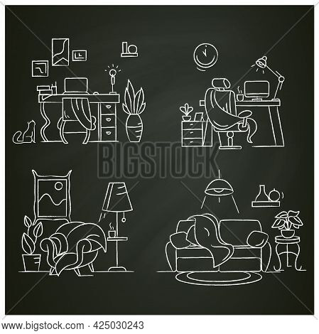 Blanket House Chalk Icons Set.living Room, Cabinet, Office, Home Workplace.modern Apartment Furnitur