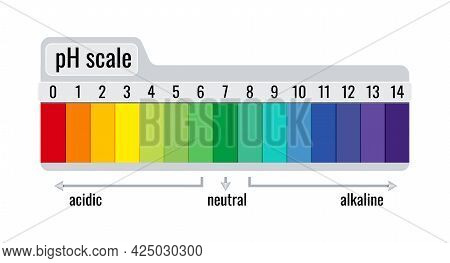 Ph Value Scale Chart Meter For Acid And Alkaline Solutions Isolated On White Background.