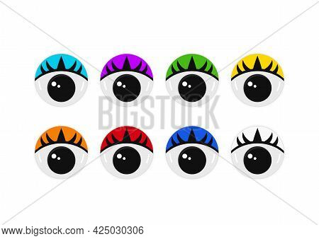 Plastic Eyes With Eyelashes For Toys, Puppet And Dolls