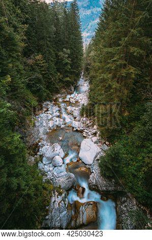 Tatra National Park, Poland. Waterfall Wodogrzmoty Mickiewicza In Summer Tatras Mountains Landscape.
