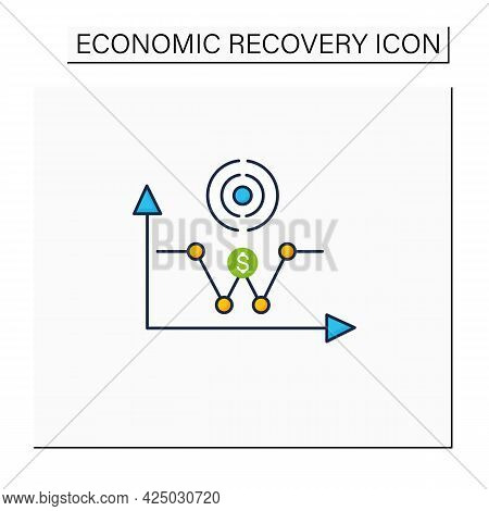 W Shaped Recovery Color Icon. Fluctuations.economy Passes Through A Recession Into Recovery And Turn