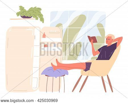 Man Sits By An Open Refrigerator And Chills Out In The Heat