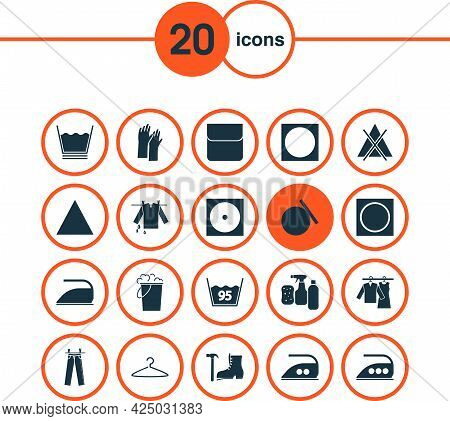 Textile Icons Set With Wet Clothes, Low Heat, Hanging Clothes And Other Iron Elements. Isolated Vect