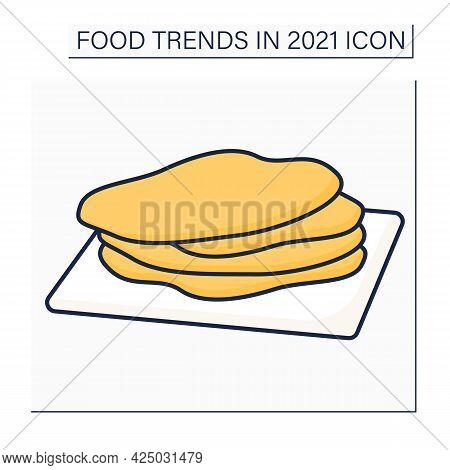 Corn Tortilla Color Icon. Thin, Unleavened Flatbread. Snack. Mexican Traditional Dish. Food Trends C