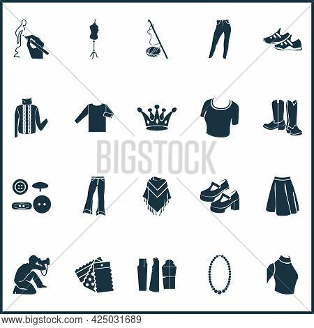 Fashion Design Icons Set With Knitwear, Buttons, Tailors Dummy And Other Fabric Elements. Isolated V