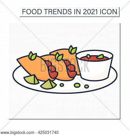 Birria Color Icon. Mexican Dish. Tacos Made With Tender And Flavorful Birria Beef.food Trends Concep