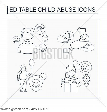 Child Abuse Line Icons Set. Sexual Abuse, Kid Trafficking, Protective Services, Emotionality. Crime
