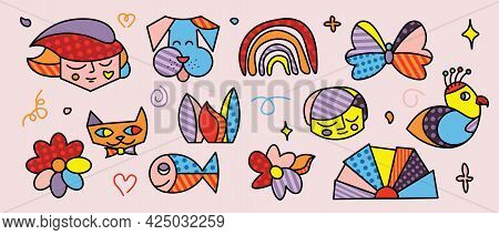 Hand Drawn Abstract Shapes, Funny Cute Comic Characters. Posters, Avatars, Logo Templates. Set Of Fl