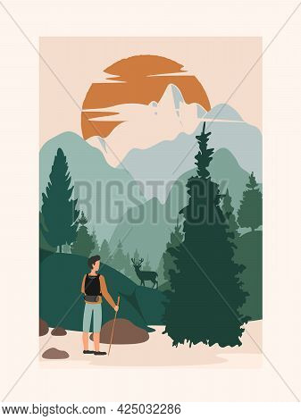 Concept Of Young Man With Backpack On Back Wearing Hood Clothing, Long Pants And Sneaker Travel Alon