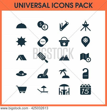 Trip Icons Set With Hat, Multitool, The Sun And Other Island Elements. Isolated Illustration Trip Ic
