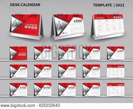 Set Desk Calendar 2022 Template And Desk Calendar 3d Mockup, Calendar 2023-2024 Template, Red Cover