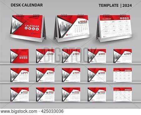 Set Desk Calendar 2024 Template And Desk Calendar 3d Mockup, Calendar 2025-2026 Template, Red Cover