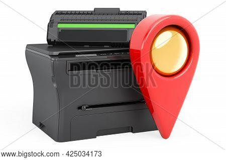 Map Pointer With Multifunction Printer Mfp, 3d Rendering Isolated On White Background