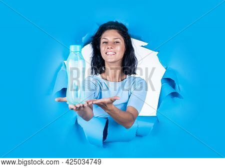Happy Pretty Woman With Brunette Hair Hold Botle Of Water, Hydration