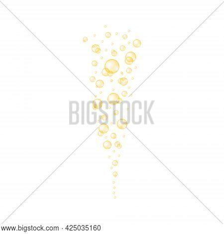 Golden Transparent Bubbles. Shiny Drops Of Collagen, Serum, Jojoba Cosmetic Oil, Vitamin A Or E, Ome