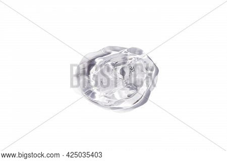 Transparent Drop Of Gel On White Background. Liquid Hyaluronic Acid Gel.