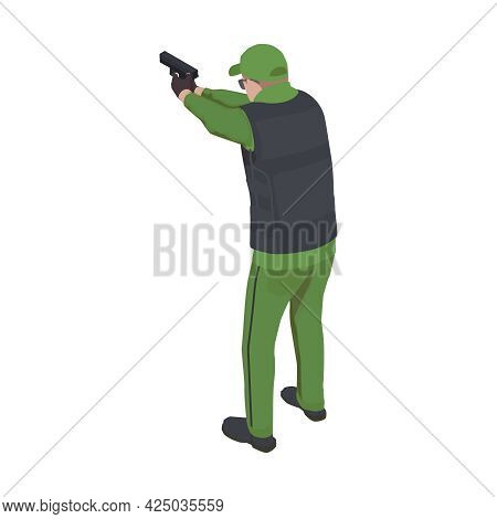 Back View Of Military Man With Pistol Wearing Armor Vest Isometric Vector Illustration