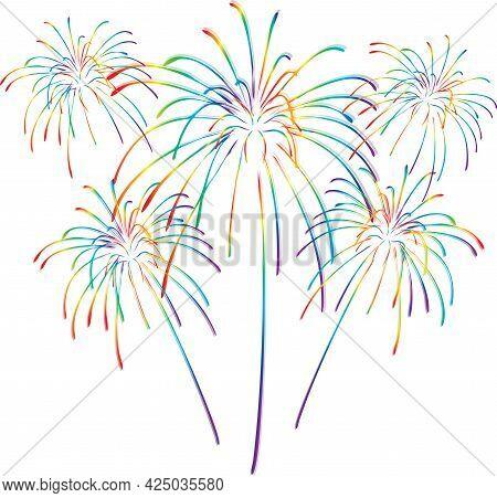 Rainbow Colorful Fireworks Celebration Pride Clip Art