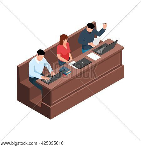 Lecture Isometric Icon With Students Studying 3d Vector Illustration