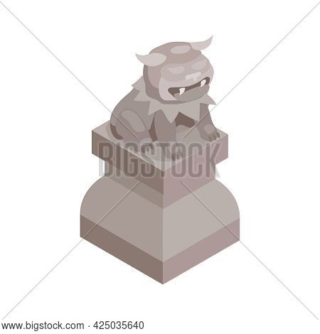 Isometric Stone Chinese Guardian Lion Sculpture On White Background 3d Vector Illustration