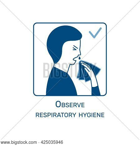 Coronavirus Instruction Flat Design Icon With Respiratory Hygiene Vector Illustration