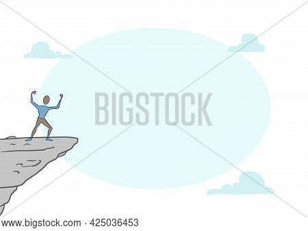 Man On A Mountain Illustration Proud Of His Climbing Success To The Clouds. Athlete On A Cliff Celeb