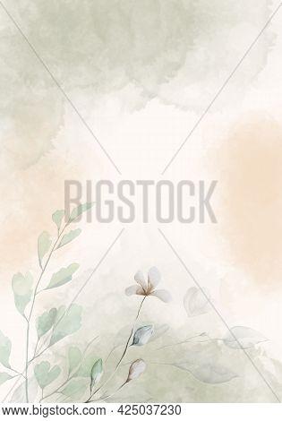 Pale Leaves - Botanical Design Banner. Floral Pastel Watercolor Border Frame