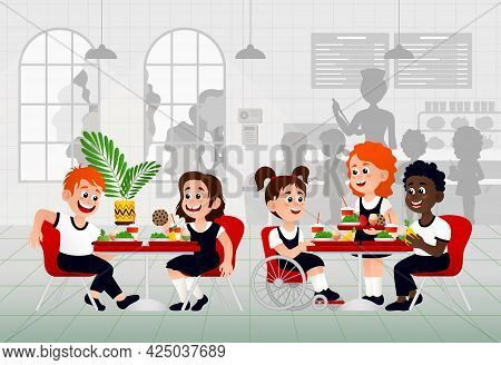 Kids In A Canteen Buying And Eating Lunch. Children Eat In School Canteen