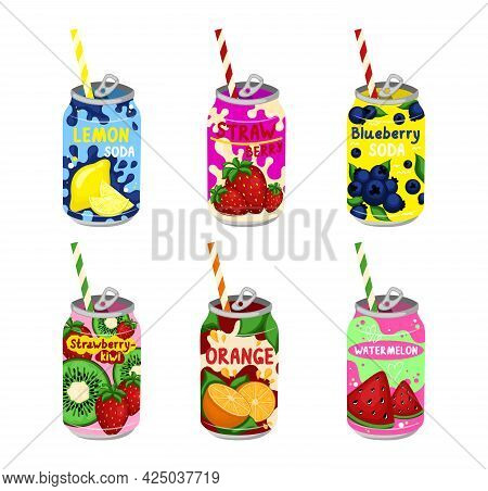 Tasty Sodas Set. Hand Drawn Vector Set Of Soft Drinks In Aluminum Cans. Kawaii Japanese Style. Vecto